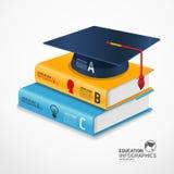 Plantilla infographic moderna con el libro y el casquillo de la graduación. Imágenes de archivo libres de regalías