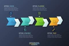 Plantilla infographic moderna del diseño con 4 flechas y cuadros de texto punteagudos derechos stock de ilustración