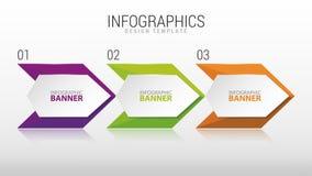 Plantilla infographic moderna del diseño Tres pasos de progresión Vector Foto de archivo libre de regalías