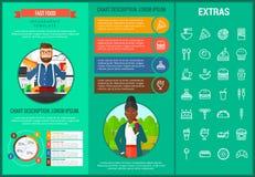 Plantilla infographic y elementos de los alimentos de preparación rápida Imágenes de archivo libres de regalías