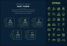 Plantilla infographic y elementos de los alimentos de preparación rápida Fotografía de archivo libre de regalías