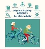 Plantilla informativa del cartel para el mayor Ventajas de la actividad física para más viejos adultos Foto de archivo libre de regalías