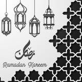 Plantilla islámica de la tarjeta de felicitación del kareem del Ramadán con la linterna de la ejecución Fotos de archivo libres de regalías