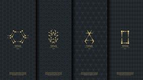 Plantilla islámica del concepto del modelo con el logotipo del vintage del oro en oscuridad Foto de archivo