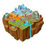 Plantilla isométrica de la isla del juego de la explotación minera ilustración del vector