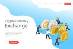 Plantilla isométrica plana de la página del aterrizaje del vector del intercambio del cryptocurrency libre illustration