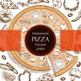 Plantilla italiana del estilo del dibujo de la cubierta de la comida de la pizza Fotografía de archivo