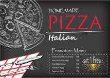 Plantilla italiana del estilo del garabato del folleto del menú del diseño de la comida de la pizza Foto de archivo libre de regalías
