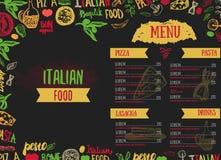Plantilla italiana del vector del menú del vector, con los diversos ultramarinos: Pastas, verduras, pizza y setas y mano dibujada Imagen de archivo libre de regalías