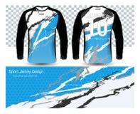 Plantilla larga de la maqueta de las camisetas de los jerséis de fútbol de la manga ilustración del vector