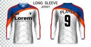 Plantilla larga de la maqueta de las camisetas de los jerséis de fútbol de la manga stock de ilustración