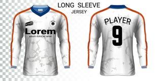 Plantilla larga de la maqueta de las camisetas de los jerséis de fútbol de la manga libre illustration
