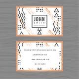 Plantilla limpia moderna de la tarjeta de visita en fondo abstracto Diseño linear del esquema Impresión de la plantilla del diseñ Foto de archivo libre de regalías