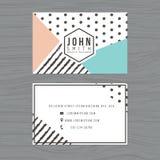 Plantilla limpia moderna de la tarjeta de visita en rayas y fondo del lunar Impresión de la plantilla del diseño Imagen de archivo