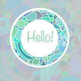 Plantilla linda de la tarjeta en colores azules Plantilla romántica elegante de la tarjeta con el marco hecho de garabato colorid Imágenes de archivo libres de regalías