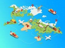 Plantilla logística global isométrica de la red stock de ilustración