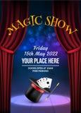 Plantilla mágica del diseño del cartel de la demostración Fondo mágico del vector de la ilusión Aviador del mago del teatro con t stock de ilustración