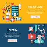 Plantilla médica del folleto para el web o la impresión Fotos de archivo libres de regalías