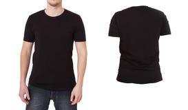 Plantilla macra de la camisa Las camisas en blanco negras Front Back View aislaron Mofa para arriba, espacio de la copia foto de archivo