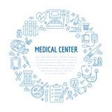 Plantilla médica del cartel Vector la línea icono, ejemplo del centro, revisión médica para arriba mri del equipo, cardiogr Imagen de archivo libre de regalías