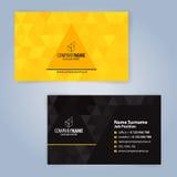 Plantilla moderna amarilla y negra de la tarjeta de visita Foto de archivo libre de regalías