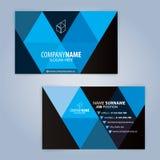 Plantilla moderna azul y negra de la tarjeta de visita Fotografía de archivo