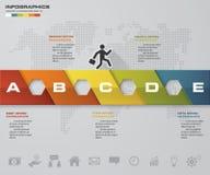 Plantilla moderna de la cronología de 5 pasos Disposición del gráfico o del Web site Foto de archivo libre de regalías