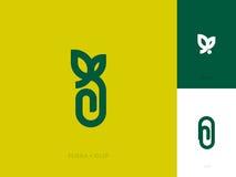 Plantilla moderna de la marca del logotipo con la hoja y el clip de papel