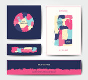 Plantilla moderna de la postal del cepillo del grunge Imágenes de archivo libres de regalías