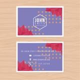 Plantilla moderna de la tarjeta de visita en fondo abstracto polivinílico bajo Impresión de la plantilla del diseño Foto de archivo