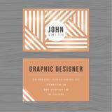 Plantilla moderna de la tarjeta de visita en fondo de las rayas Impresión de la plantilla del diseño Imagen de archivo