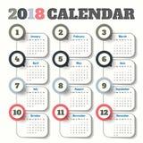 Plantilla moderna del calendario 2018 vector/ejemplo Fotografía de archivo libre de regalías