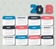 Plantilla moderna del calendario 2018 vector/ejemplo Foto de archivo libre de regalías