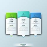 Plantilla moderna del infographics con formas e iconos de papel futuristas para 3 opciones Foto de archivo