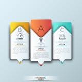 Plantilla moderna del infographics con formas e iconos de papel futuristas para 3 opciones Foto de archivo libre de regalías
