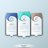 Plantilla moderna del infographics con formas e iconos de papel futuristas para 3 opciones Imagen de archivo