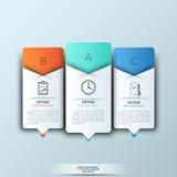Plantilla moderna del infographics con formas e iconos de papel futuristas para 3 opciones Imagen de archivo libre de regalías