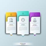 Plantilla moderna del infographics con formas e iconos de papel futuristas para 3 opciones Fotos de archivo