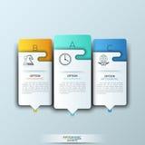 Plantilla moderna del infographics con formas e iconos de papel futuristas para 3 opciones Fotografía de archivo