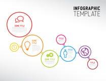 Plantilla moderna del informe de Infographic hecha de líneas y de círculos Imagen de archivo