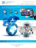 Plantilla moderna del sitio web con la disposición plana del infographics del estilo Imagen de archivo libre de regalías
