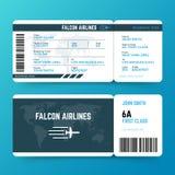 Plantilla moderna del vector del boleto del documento de embarque del viaje de la línea aérea Imagen de archivo libre de regalías