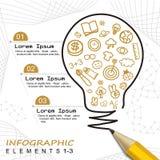 Plantilla moderna infographic con el dibujo de lápiz un bulbo Foto de archivo libre de regalías