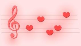 Plantilla musical abstracta con la clave de sol y las notas como corazones para la tarjeta de la boda o del día de tarjeta del dí ilustración del vector