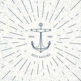 Plantilla náutica retra del logotipo del vector Imagen de archivo