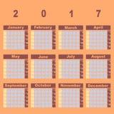Plantilla natural del calendario de la versión parcial de programa 2017 del color ilustración del vector