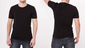 Plantilla negra de la camiseta Visión delantera y trasera Mofa para arriba en blanco Verano imagen de archivo libre de regalías