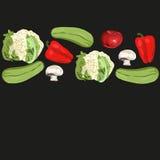 Plantilla negra de las verduras Fotos de archivo libres de regalías