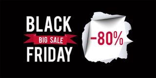Plantilla negra del diseño de la venta de viernes Black Friday bandera del descuento del 80 por ciento con el fondo negro Ilustra Fotos de archivo libres de regalías