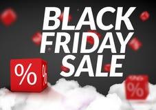 Plantilla negra del diseño de la venta de viernes Cartel de la bandera de Black Friday con la caja 3d Ilustración del vector Fotografía de archivo libre de regalías